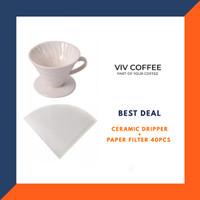 Paket Alat Kopi V60 Dripper Keramik + Paper Filter 40pcs