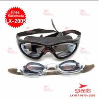 kacamata renang dewasa anti fog anti uv kacamata speeds remaja anak - Hitam