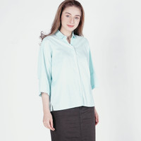 Kemeja Wanita / Lilstripe White Green Shirt 23516D5WN - Ninety Degrees