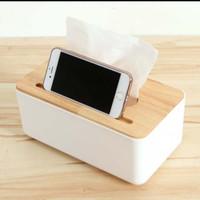 tempat tisu kayu dengan dudukan tab smartphone kotak tisu