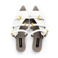 MADER Open Toe Mules White/Grey Sole