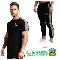 BUNDLING VQ STRIPE kaos Gym fitnes baju training pria jogger vanquish