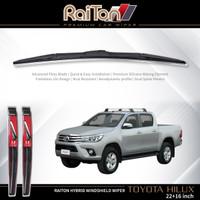 """Raiton Sepasang Wiper Hybrid Kaca Depan Mobil Toyota Hilux 22"""" & 16"""""""