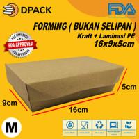 Paper Lunch Box Size M FoodGrade Bahan ECO Kraft Paper|Kemasan Makanan
