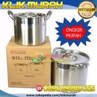 Panci tinggi 12 / 8 QT (1box) stock pot supra murah tebal termasuk tut
