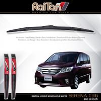 """Raiton Sepasang Wiper Hybrid Kaca Depan Nissan Serena C36 26"""" & 14"""""""