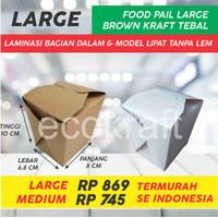 FOOD PAIL PAPER LUNCH BOX KOTAK MAKAN DUS COKLAT KRAFT MEDIUM LARGE - Foodpail Medium, Cokelat