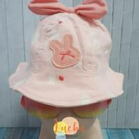 topi anak bunny bowler hat katun - peach