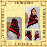 Segiempat Deeka Red Black Polka Kerudung Jilbab Hijab Segi Empat Cewek