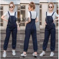[2in1 JUMSUIT JEANS 358 VE]Jumpsuit wanita Jeans washed Navy dongker