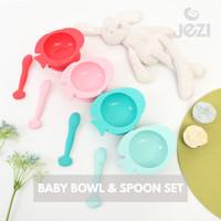 Baby Bowl Spoon set Mangkok Sendok Bayi 1 set JEZI silikon BPA Free - Merah