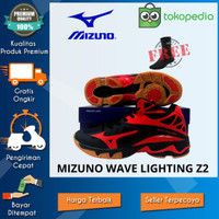 Sepatu volly Mizuno terbaru wave lightning z2 Blackred made in vietnam - Hitam merah, 40