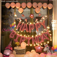 Paket set balon ulang tahun birthday dekorasi pink unicorn lampu LED