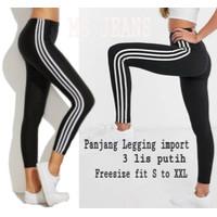 [Legging import 3 RO]Legging wanita spandek list White/3 color