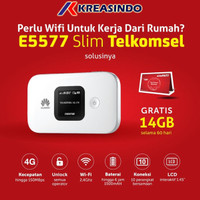Huawei E5577 Slim Mifi Router Modem Wifi 4G Free Telkomsel 14Gb