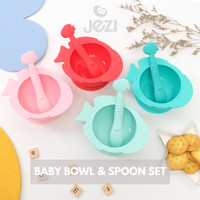 Baby Bowl & Spoon Mangkok Sendok Bayi JEZI 1 Set - Tosca Muda