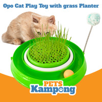 Opo Cat Play Toy with grass planter Mainan kucing interaktif 3 in 1