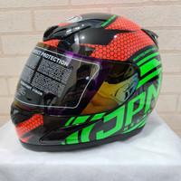 Helm JPN fullface no 94 hitam gloss stiker merah mix hijau