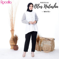 Blus Natasha by Rocella | Atasan Casual - Pakaian Muslimah - White, S-M