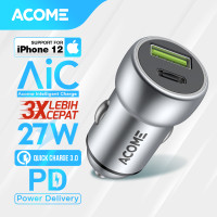 Car Charger ACOME Type-C/USB 3.0 AIC Fast Charging iPhone PD/QC 3.0 Ga