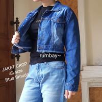 [Jaket crop Rumbai RO]Jaket wanita jeans Dark Blue/Soft Blue