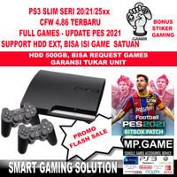 Playstation 3 PS3 Slim CFW Seri 21/25xx 500GB 2 Stik Bonus Analog Grip