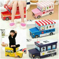 Kotak Mainan Bus Toy Box Storage Serbaguna Model Bis Tempat Simpan Wad