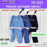 [4-12] Baju Tunik + Jilbab Anak perempuan Kualitas Export TO. 12 - 4, Sky Blue