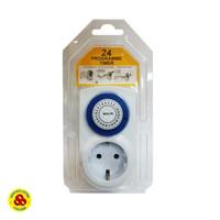 Stop Kontak Timer Analog 24 Jam Manual Time Controller Plug Socket