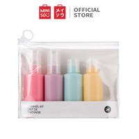 MINISO Botol Spray Semprot Kosong Travel Kit Plastik Organizer 5 Pcs