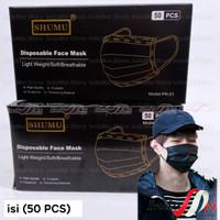 masker 3 ply 50 pcs EARLOOP 3 PLAY HITAM / MASKER BLACK 3PLY - SHUMU