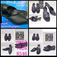 sandal selop hitam polos bhayangkari