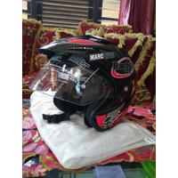 Helm Helmet Helm double visor Marquez Repsol 93 Merah Promo!!! - Hitam, M