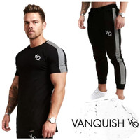 Setelan VQ STRIPE kaos Gym fitnes baju training pria jogger vanquish