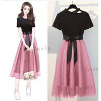 [Davina dress VE]Dress wanita mosscrepe varian warna