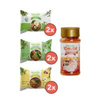 Lemonilobox 2 Mie Goreng, 2 Mie Kari, 2 Mie Ayam Bawang, dan 1 Chilita
