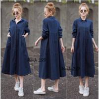 [Maxi JEANS 259DB VE]Maxi wanita jeans washed Dark Blue
