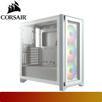 Corsair - iCUE 4000X RGB Tempered Glass Mid-Tower ATX Case — White