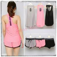 Setelan Sport Gym Senam Wanita / Set Baju Olahraga Outer + Celana