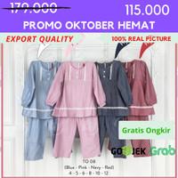 [4-12] Baju Tunik + Jilbab Anak perempuan Kualitas Export TO. 08 - 4, Biru