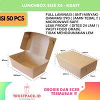 LUNCH BOX PAPER BAHAN KRAFT/ COKLAT SIZE SMALL FULL LAMINASI SIZE S