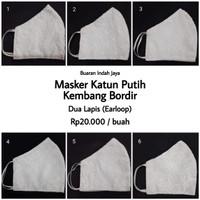 Masker Katun Putih Gading Motif Kembang Bordir ( dua lapis )