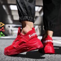 PHM Shoes Sepatu Sneakers Pria Sepatu Olahraga Pria Kasual PHM307 - Merah, 44