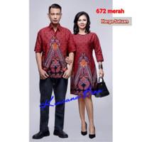 672 merah couple batik kemeja pria M - bigsize 5L, dress M - 5L - kemeja M-XL