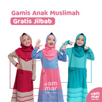 Gratis Jilbab - Gamis Kaos Anak Muslimah Perempuan Ammar Kids Hoofla - Blue Salem, S