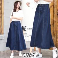 ONNIEFASHION 6065-1 Jisoo Pocket Denim Skirt/Rok Panjang/Rok Denim