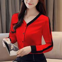 [CN 539 RO]BLOUSE wanita mosscrepe Red/White