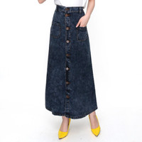 [Rok salma black snow RO]Rok wanita jeans washed hitam
