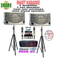 PAKET SPEAKER BMB+AMPLI DA 303+MIC+STAND(SPEAKER KARAOKE)