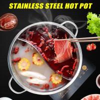 Suki Pan Hot Pot - Panci Shabu 28cm Tutup Kaca Panci Shabu 2 Sekat